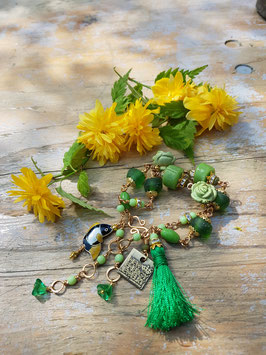 *GREEN PARADISE* vergoldetes, grünes Armband