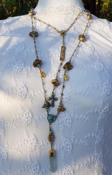 Gesegneter Unikat-Rosenkranz *DEEPEST APPRECIATION from YOUR GROUP OF ANGELS* mit goldenen Aura-Bergkristallnuggets, natürlich marmorierten Achatperlen & einer eingefassten Quarzspitze - vergoldet