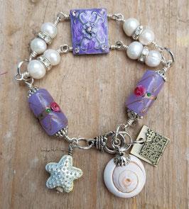 *LAVENDER MERMAID* versilbertes, maritimes Armband mit großen, weißen Süßwasser-Perlen & Lampwork