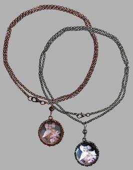 Talisman Halskettchen mit Glascabochon-Anhänger *Madonna von Carmel mit dem Kinde*-in kupfer/roségold oder altsilber zur Auswahl