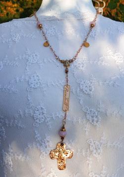 Gesegneter Unikat-Rosenkranz *HOLY TENDERNESS* vergoldet, mit rosafarbener Jade, Bronzekreuz & passenden Ohrringen