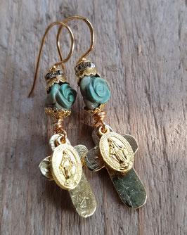 2.) Natalies gesegnete Mariensegen-Ohrringe mit Howlith