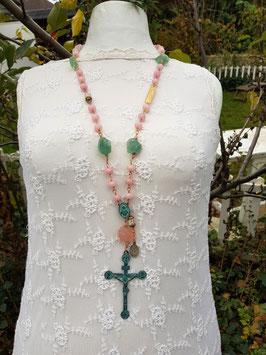 Gesegneter Unikat-Rosenkranz *A LADY'S PRAYER* mit grünem Fluorit & rosafarbenen Jadeperlen, vergoldet