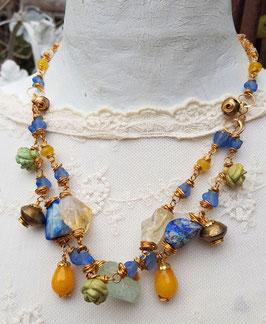 Opulentes, vergoldetes Unikat-Collier *MEERJUNGFRAU* mit Lapislazuli, Citrin, Jade, afrikanischen Perlen u.v.m.