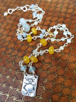 Wickel-Armband & Halskette mit 999er Feinsilber- *SCHUTZENGEL*, Aquamarin, Angelit, Jade & Süßwasserperlchen- versilberte Verbindungen