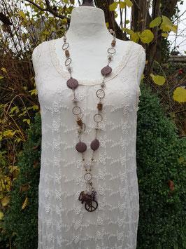 *HIGH ENERGY CRYSTAL ROSE GARDEN* Extralange NEW-ENERGY- Halskette mit Lava & Lavendelamethyst & einem handgeschnitzten, indischen Sandelholz-Elefant