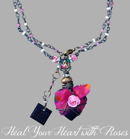 *BLACKHEART ROSENHERZ PINK* Magische Herzkette mit Röschen, Marienbild, Achat & Süßwasserperlchen