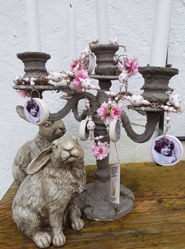 Ostergirlande (Unikat) *WHITE POLKA GIRLIE* mit rosa Kirschblüten & rosaweiß gepunkteten Holz-Ostereiern