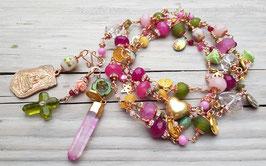 ********** reserviert für Katrin Grunwald **********  PEACE ON EARTH II 2019 - extralange Halskette mit Edelsteinen, Perlen, Bronze u.v.m.