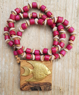*GOLDFISCH* maritime Keramik-Kette mit einem Goldfisch auf Birkenholz