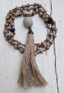 Mala Style Necklace *SEARAPHIM SPIRITS OF HARMONY* mit Jaspis, schwarzem Turmalin (Schörl) & Leinen!