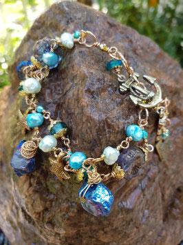 *MERMAID* kobaltblau- türkisfarbenes Armband mit Bergkristall, Perlen, Seesternchen & Anker