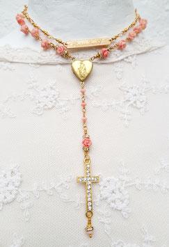 Gesegneter Rosenkranz *ANGEL'S CORAL* - vergoldet - mit Röschen aus Engelskoralle
