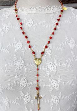 Gesegneter Rosenkranz *RED CORAL* - vergoldet - mit roter Koralle und Resinröschen