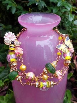 Armband *PLANT FLOWERS for the BEES & BUTTERFLIES* - vergoldet- für Naturliebhaberinnen mit Phacelia-Samentütchen zum Pflanzen einer Bienenweide!