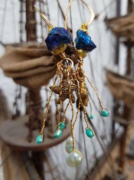 *MERMAID* Ohrringe mit Bergkristall, Perlen & Seestern