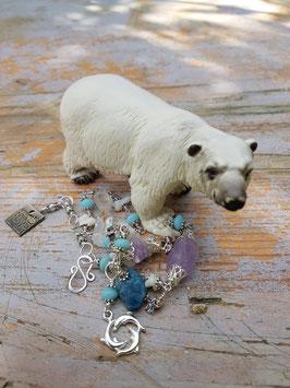 *ICE QUEEN* Armband- versilbertes Bergkristall-Amethystarmband mit weißer Koralle & blauem Apatit