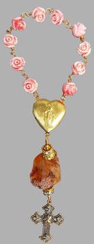 Marienenergie-Chaplet (10er-Rosenkranz, Handrosenkranz) mit Edelstein Karneol zur Stärkung Deiner Verbindung mit der inneren Herzkammer
