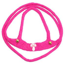Pferdeleine handgefilzt, pink mit Pilz PF6508