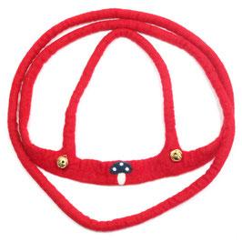 Pferdeleine handgefilzt, rot mit Pilz PF6504