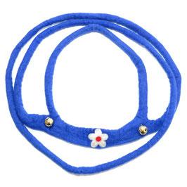 Pferdeleine handgefilzt, blau mit Blüte PF6505