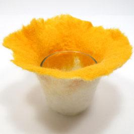 Filzlicht handgefilzt, gelb-weiß FL1002