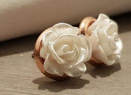 8mm Rosen Ohrringe Weiß