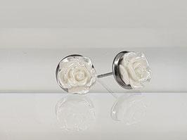 8mm Rosen Ohrringe weiß shiny