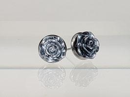 8mm Rosen Ohrringe grau