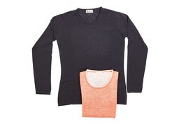 Cashmere/Cotton Sweater3-Black/Lobster
