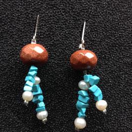 Ohrhänger Goldfluss, Türkis und Perlen