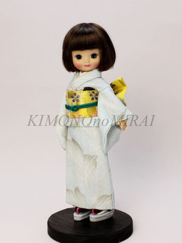 SS3.015ks 水色着物と黄色金襴帯のセット