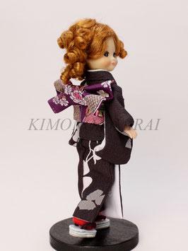 SS3.014ks 焦げ茶モダン着物と紫モダン金襴帯のセット