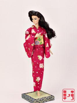 綿紬 赤紫花柄 LL.015ys