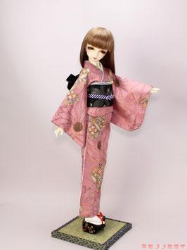 ピンク 紬風 着物セット K.006ks