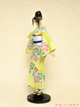 SALE!からし カラフル桜小紋 着物セット L.003ks