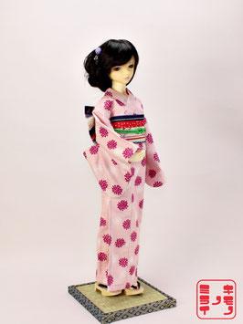 綿紬 薄ピンク花 K.019ys