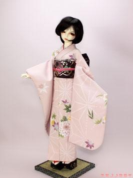 淡ピンク 麻の葉に美しの花 振袖セット K.037fs