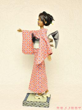 L浴衣 リップル ピンク花紋
