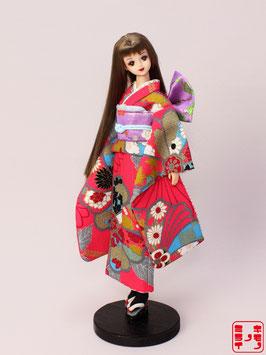 銀糸通し 濃いピンク古典草花振袖 M.071fs
