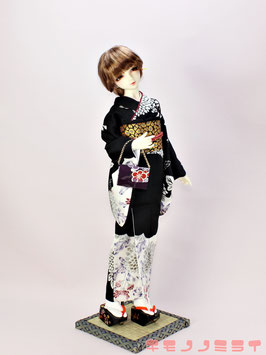 黒 抽象菊 ちょっと袖長めの着物セット K.008ks