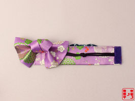 帯チェン! 薄紫金襴 変わりリボン L.007to