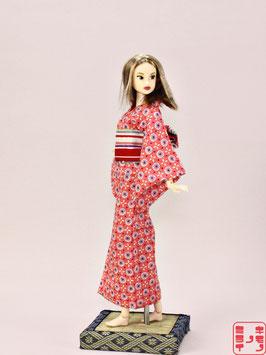 綿リップル ピンク レトロ花紋 M.025ys