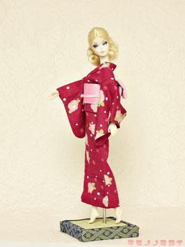 L浴衣 椿 赤紫