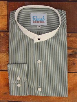 1940s Collarless Shirt, Green Stripe