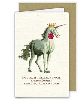 Büttenkarte Einhorn