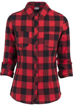 Ladies Turnup Checked Flanell Shirt, Red
