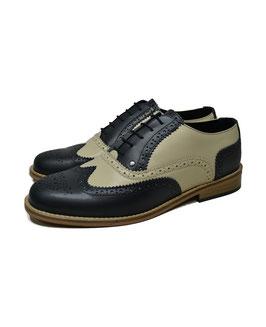Derby Shoe, Navy/Bege