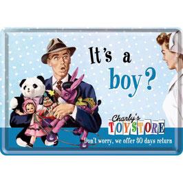 It's a Boy? Say it 50's, Blechpostkarte