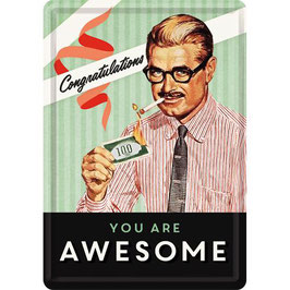 You Are Awesome, Say it 50's, Blechpostkarte